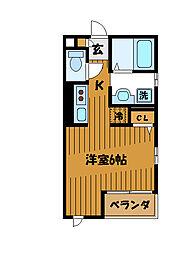 東京都国分寺市日吉町2丁目の賃貸アパートの間取り