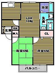 コーポルミエA棟[2階]の間取り