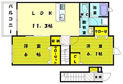 福岡県宗像市平井1丁目の賃貸アパートの間取り