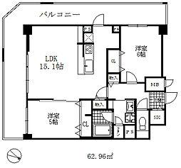 シェリール六甲道 8階2LDKの間取り