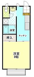 ガーデンハイツA[1階]の間取り