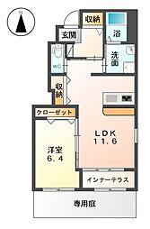 愛知県あま市篠田島原の賃貸アパートの間取り