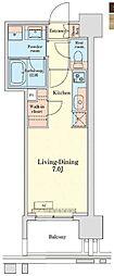 都営浅草線 泉岳寺駅 徒歩14分の賃貸マンション 12階1Kの間取り
