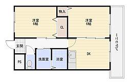 大阪府大阪市平野区長吉出戸4の賃貸マンションの間取り