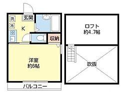 神奈川県川崎市多摩区西生田4の賃貸アパートの間取り