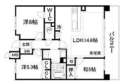 パデシオン京都七条ミッドパーク[2階]の間取り