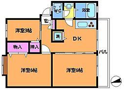 多摩川住宅ハ−14[1階]の間取り