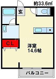 TENOU BLD 2階ワンルームの間取り