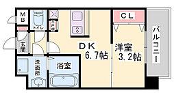 SOAR SINNAGATA 6階1DKの間取り