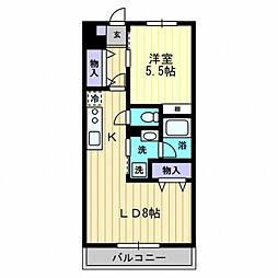 アクセスコート[402号室]の間取り