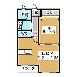 liv foresta 3階1LDKの間取り