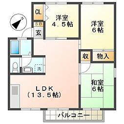 エステート桃山[1階]の間取り
