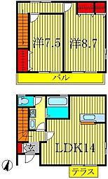 [テラスハウス] 千葉県柏市新富町1丁目 の賃貸【/】の間取り