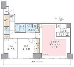ブリリアイスト東雲キャナルコート(アパートメンツ東雲キャナル 5階2LDKの間取り