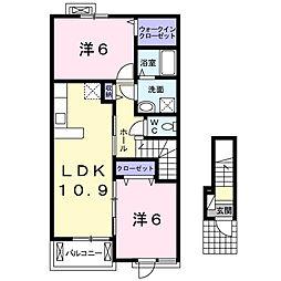 静岡県浜松市浜北区小松の賃貸アパートの間取り
