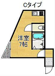 住之江1番館 1階ワンルームの間取り