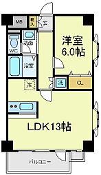 メロディーハイム阿倍野[3階]の間取り