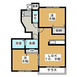 愛知県一宮市猿海道2丁目の賃貸アパートの間取り