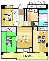 コーシャハイツ酉島[11階]の間取り