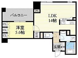 アーデンタワー福島ウエスト[5階]の間取り