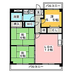 オークティプラザ原田[4階]の間取り