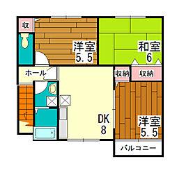 サンフロール神戸北Ⅱ[2階]の間取り