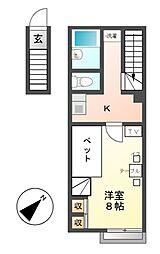 レオパレスKAI・開[2階]の間取り