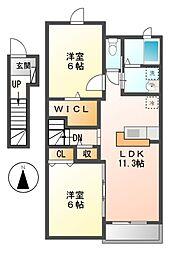 愛知県弥富市五明1の賃貸アパートの間取り