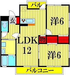 埼玉県吉川市高久1丁目の賃貸アパートの間取り