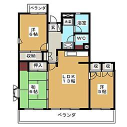 メゾンブランシュ1号館[4階]の間取り