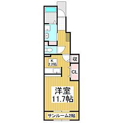 長野県松本市大字島内の賃貸アパートの間取り