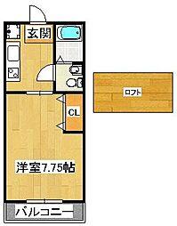 カニス高石神[203号室]の間取り