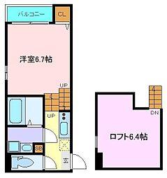 仙台市地下鉄東西線 六丁の目駅 徒歩7分の賃貸アパート 1階1Kの間取り