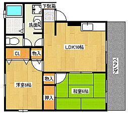 兵庫県神戸市灘区高羽町5丁目の賃貸アパートの間取り
