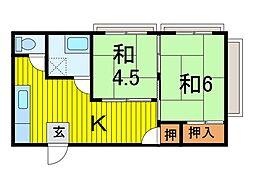 本田マンション 2号棟[4階]の間取り