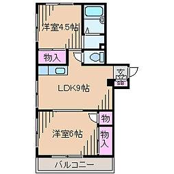 神奈川県川崎市中原区井田1丁目の賃貸マンションの間取り