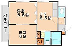 メルベージュ中央[4階]の間取り