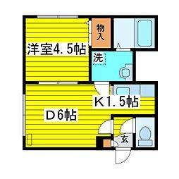 北海道札幌市東区北十三条東13丁目の賃貸アパートの間取り