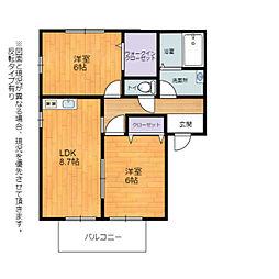 JR東海道・山陽本線 河瀬駅 徒歩11分の賃貸アパート 2階2LDKの間取り