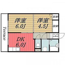 千葉県成田市囲護台3丁目の賃貸アパートの間取り