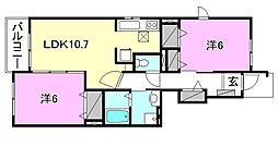 ジョーヌ セレーサ A棟[102 号室号室]の間取り