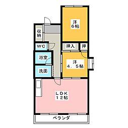 喜多山ハイツ[4階]の間取り