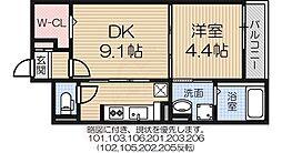 南海線 泉大津駅 徒歩11分の賃貸マンション 2階1DKの間取り