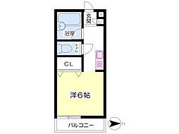 ロックハイツI 2階ワンルームの間取り