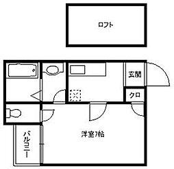 コンフォートベネフィス六本松1[2階]の間取り