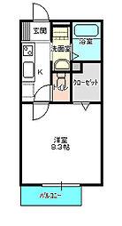 茨城県水戸市新荘1丁目の賃貸アパートの間取り