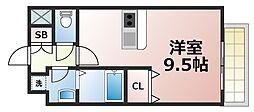 メビウス玉造レジデンスII 5階1Kの間取り