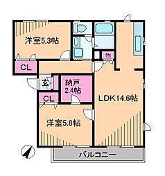 神奈川県横浜市都筑区東山田3丁目の賃貸アパートの間取り