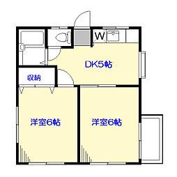 第2サンハイツ[2階号室]の間取り