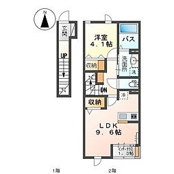 高松琴平電気鉄道琴平線 太田駅 徒歩4分の賃貸アパート 2階1LDKの間取り